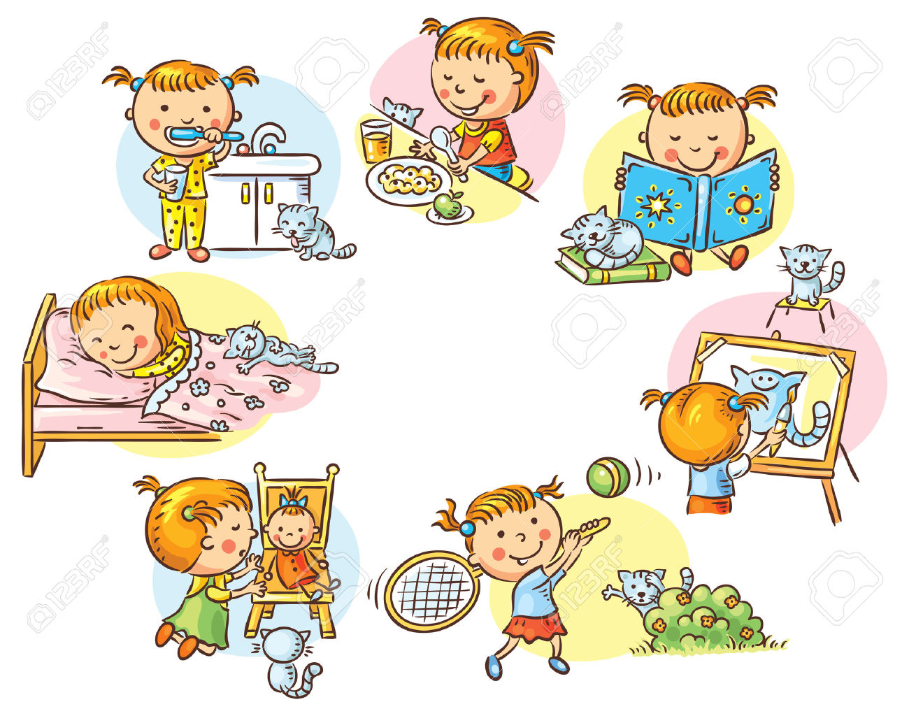 Activities clipart cartoon. Daily activity station