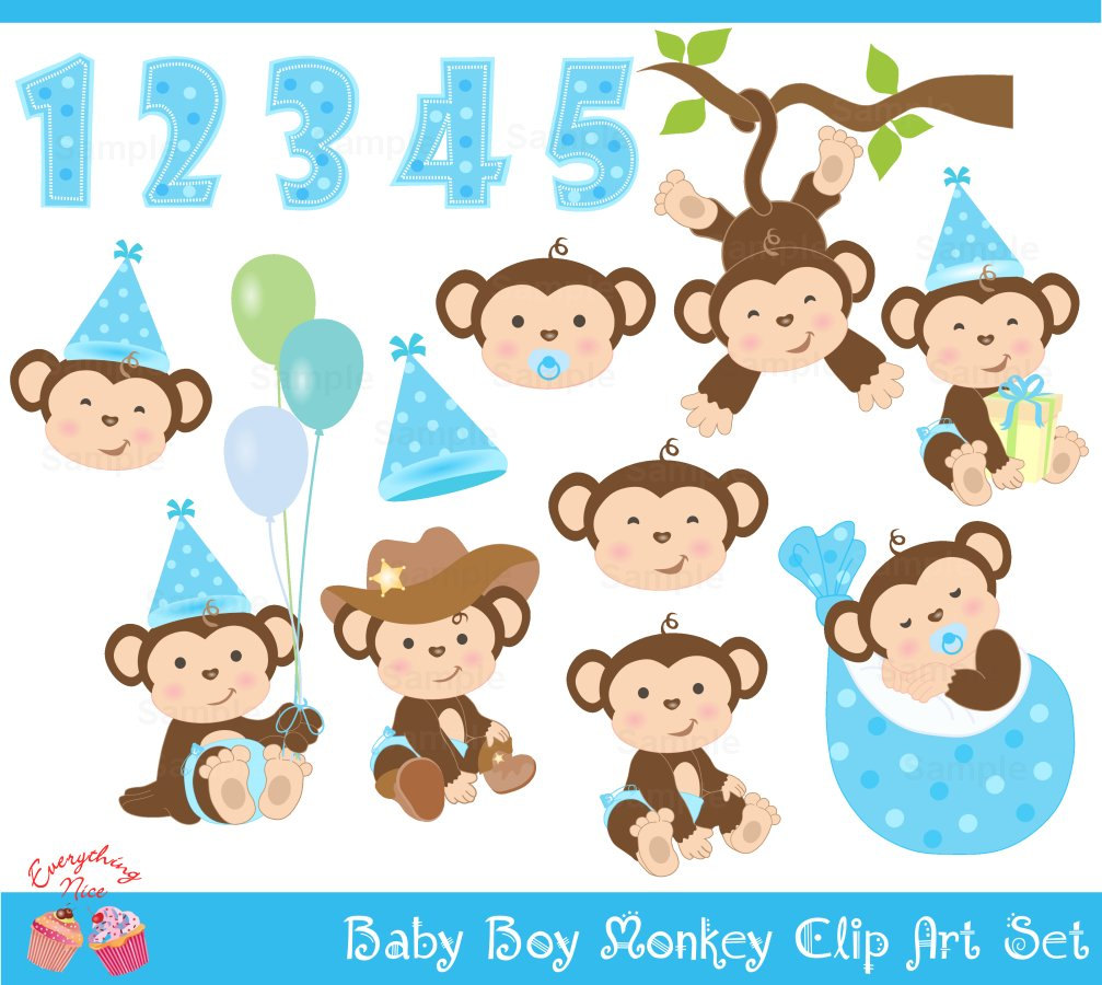 Baby boy monkey . Ape clipart kid