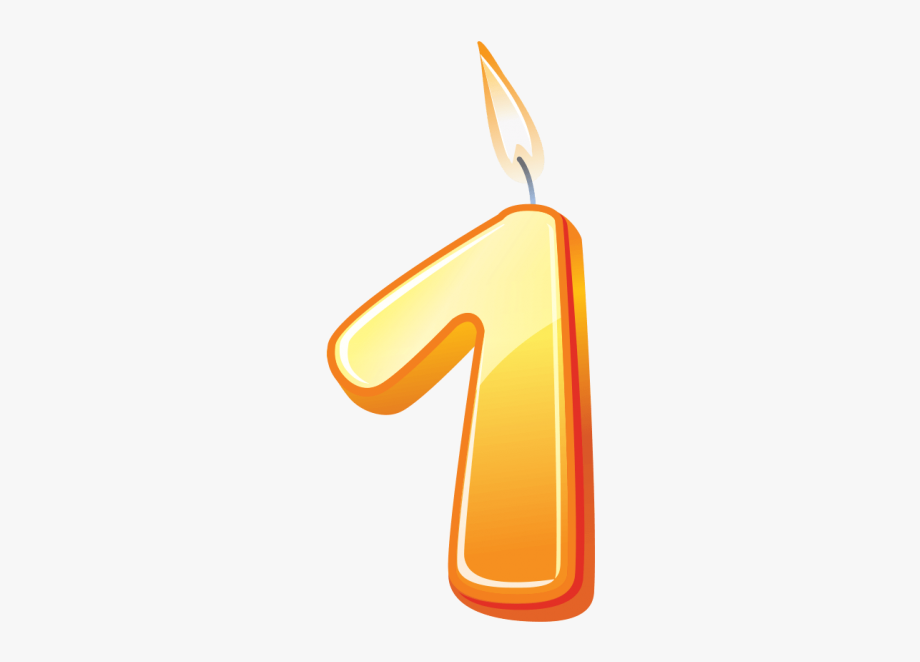 Number transparent . 1 clipart birthday candle