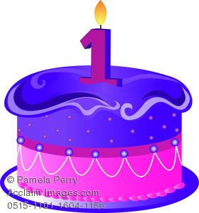 1 clipart birthday candle. Clip art illustration of