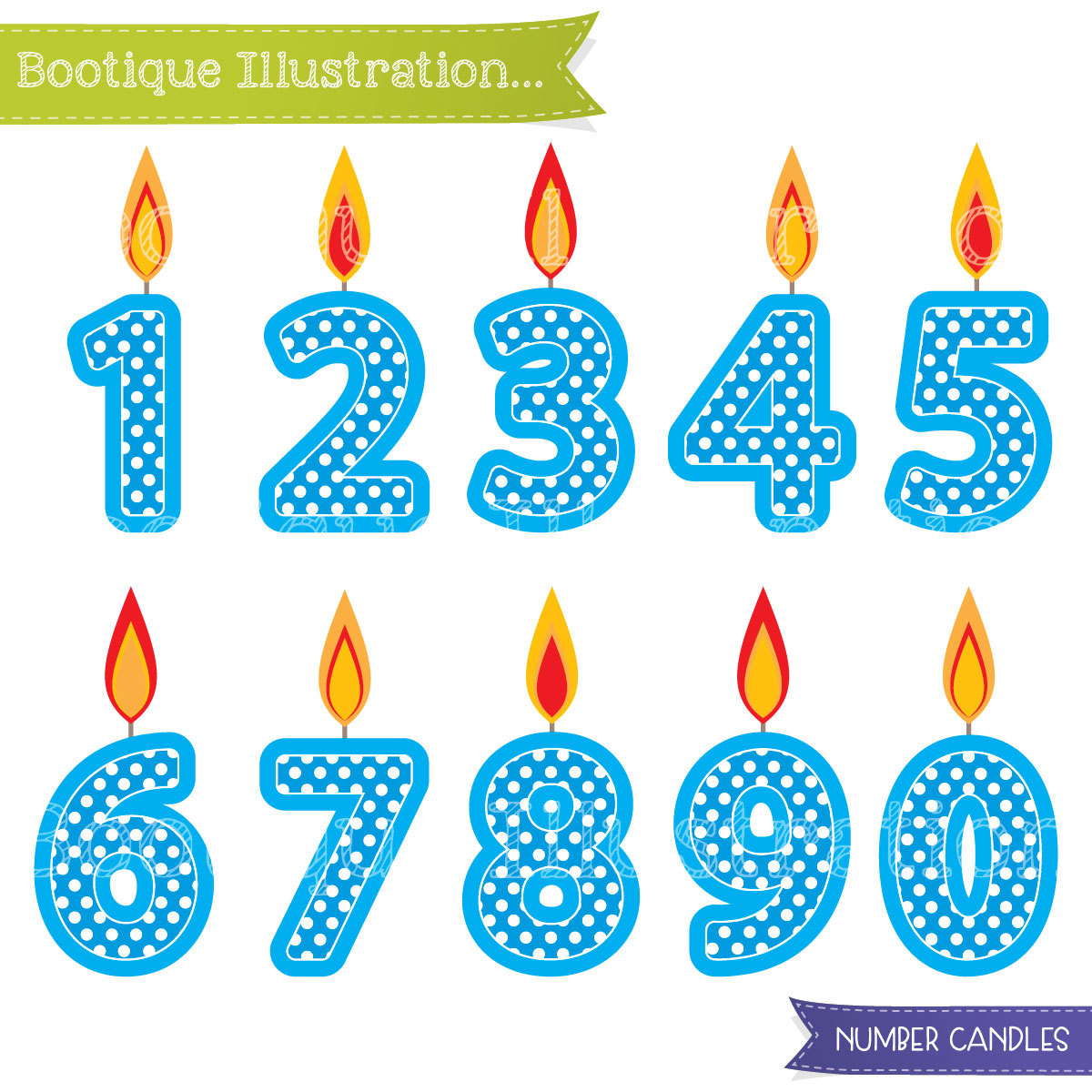 Blue number candles boys. 1 clipart birthday candle