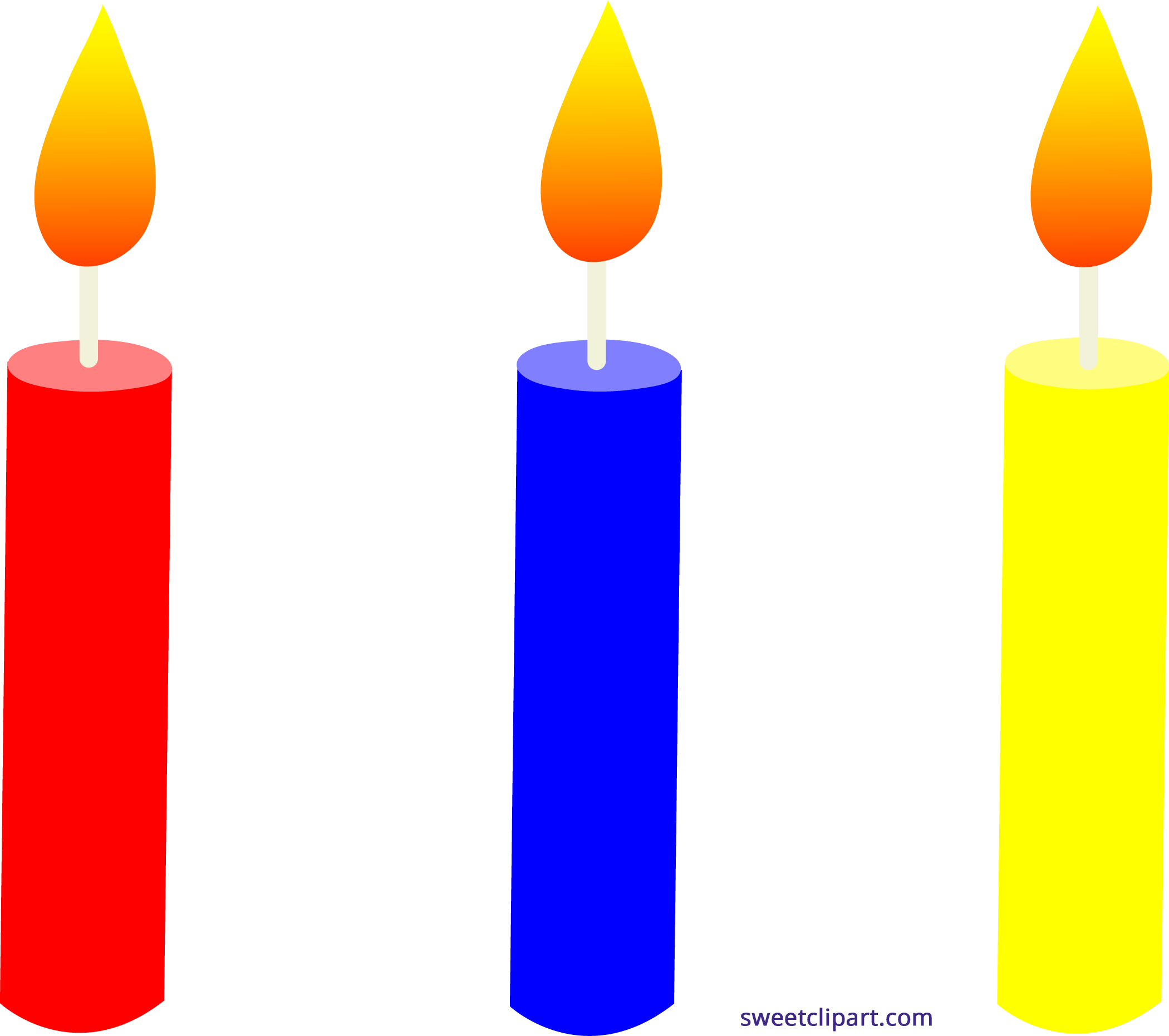 Holidays birthday candles trio. Number 1 clipart clip art