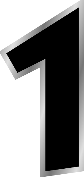 Number clip art at. 1 clipart black and white