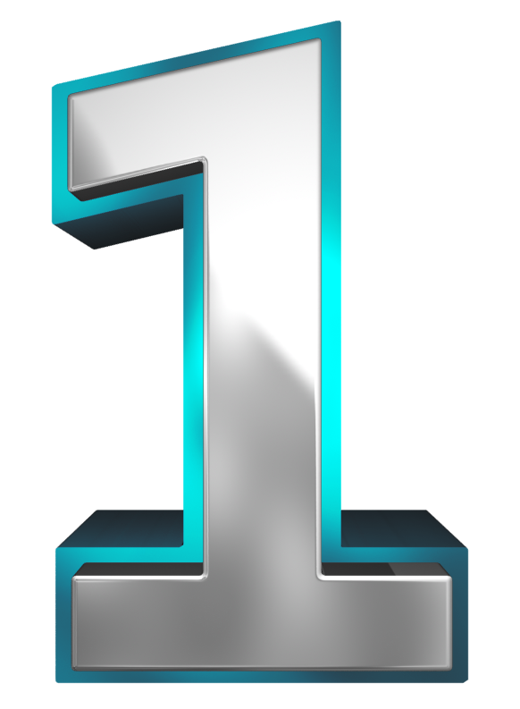 Metallic and number one. 1 clipart blue