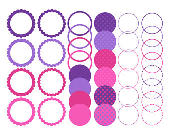 1 clipart circle. Striped digital frames borders