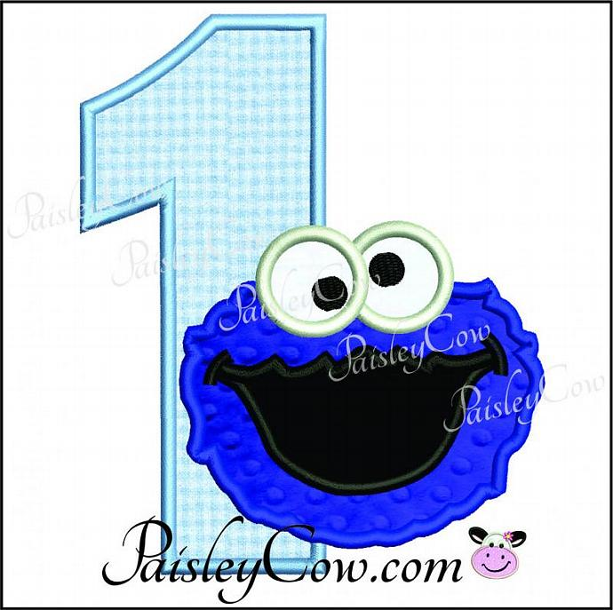One applique first birthday. 1 clipart cookie monster