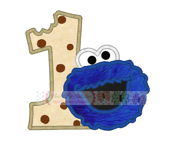 Fat number one birthday. 1 clipart cookie monster