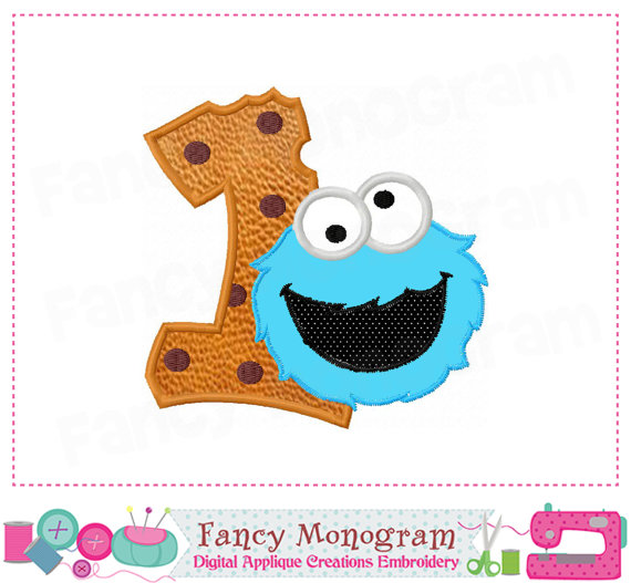 Number appliquebirthday . 1 clipart cookie monster