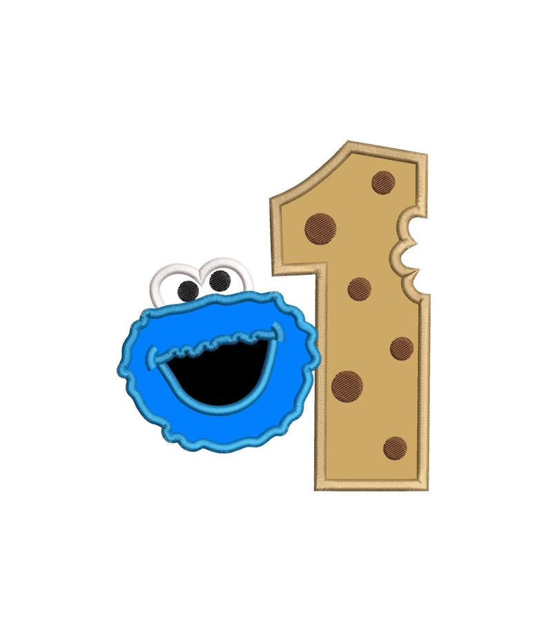 1 clipart cookie monster. Number birthday applique embroidery