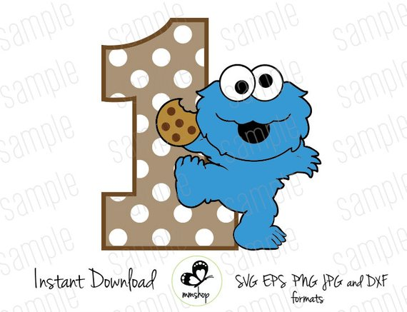 One baby sesame street. 1 clipart cookie monster