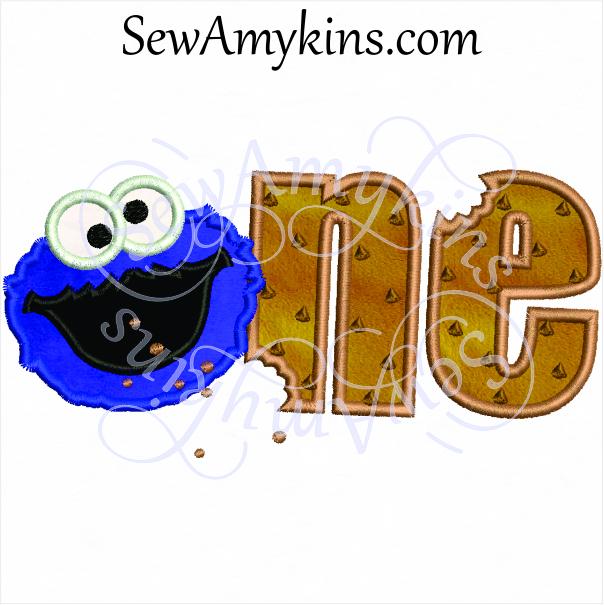 One birthday applique sewamykins. 1 clipart cookie monster