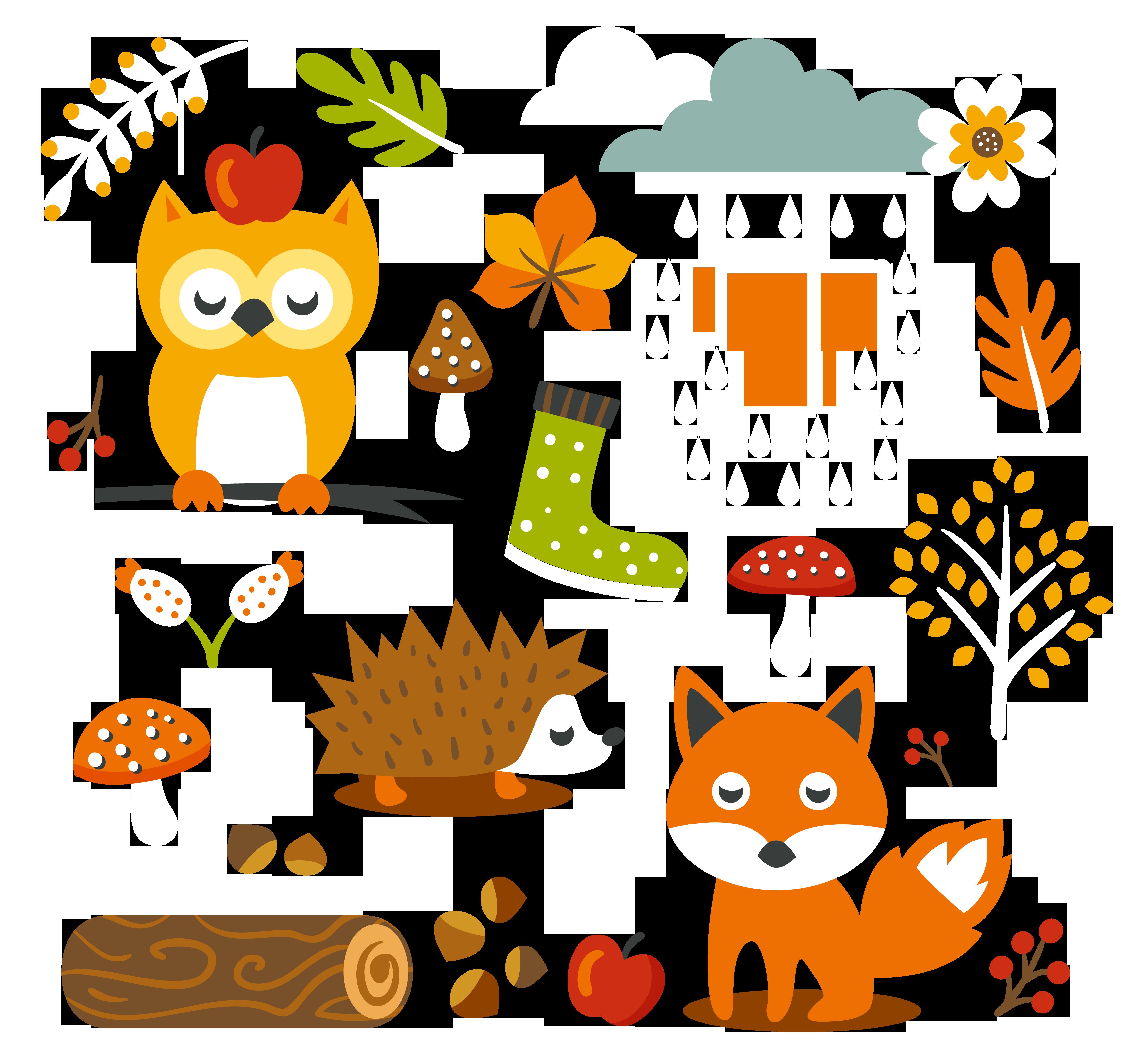 1 clipart cute. Free autumn animal clip