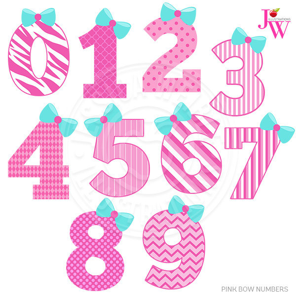 1 clipart cute. Pink bow numbers digital