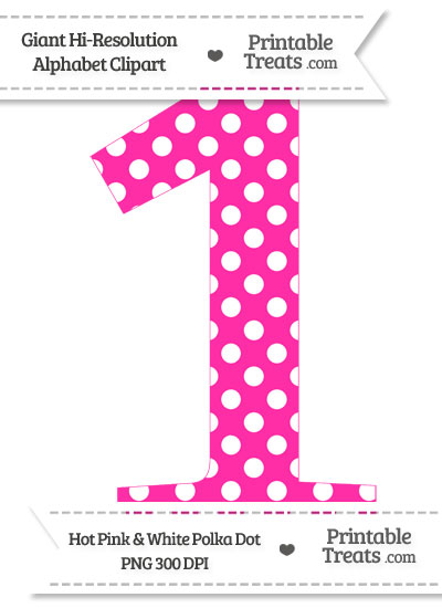 Hot pink polka number. 1 clipart dot