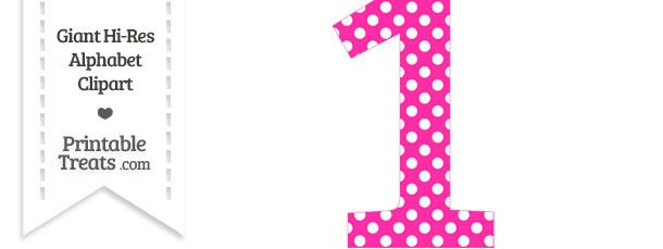 1 clipart dot. Hot pink polka number