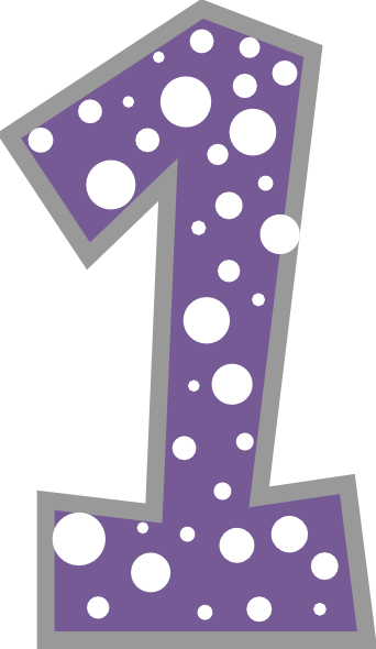 Number dark purple and. 1 clipart dot