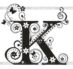 Letter k . 1 clipart fancy