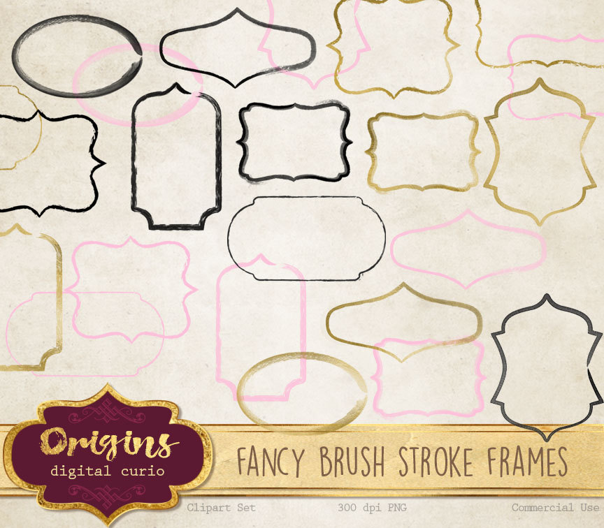 1 clipart fancy. Brush stroke frames
