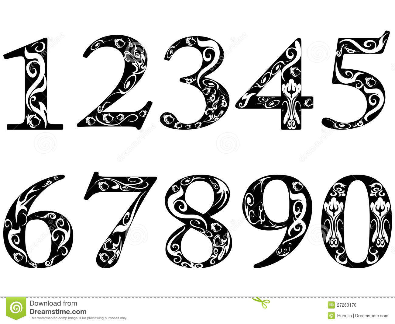 collection of numbers. 1 clipart fancy