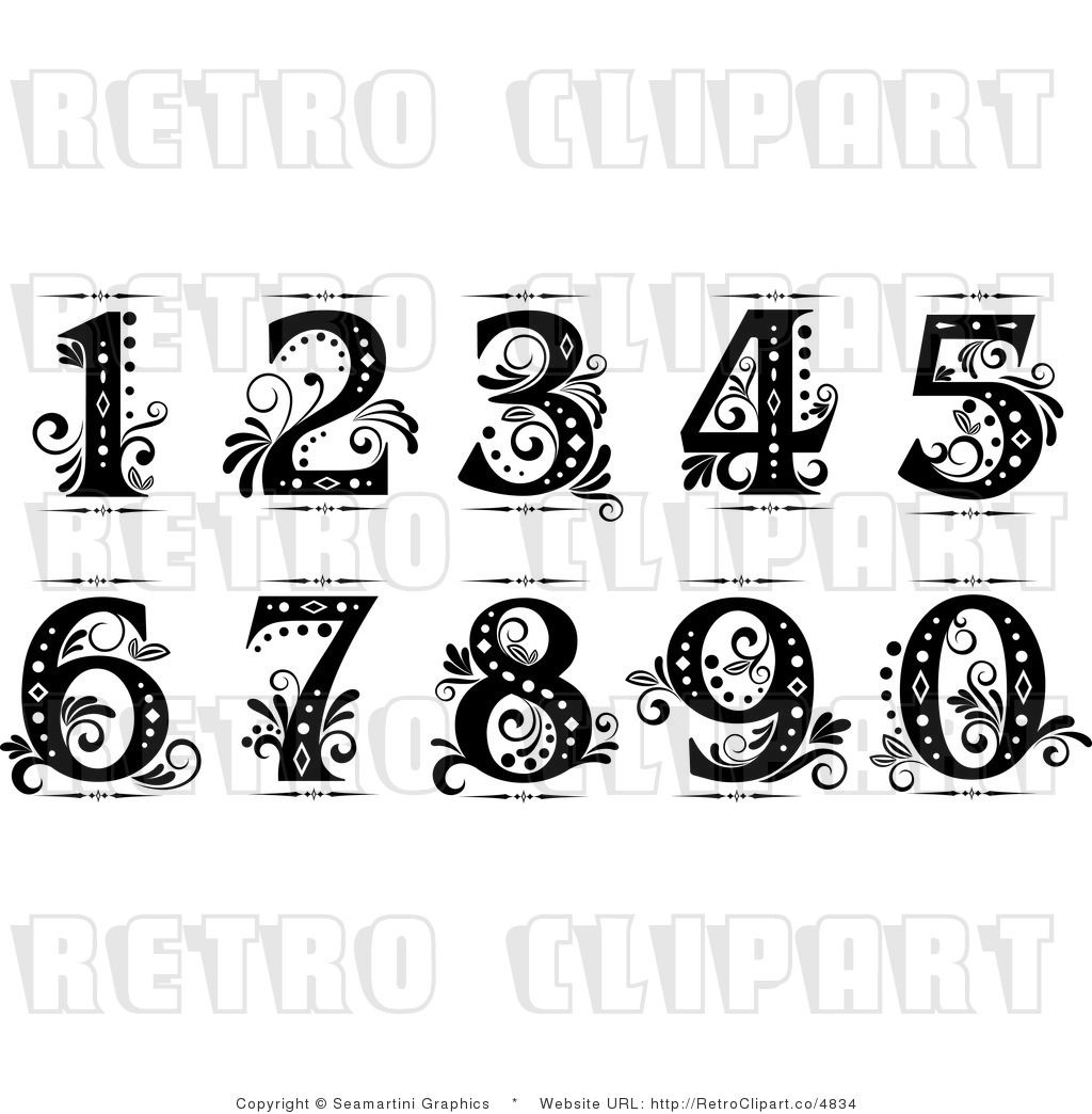 1 clipart fancy. Old cursive numbers clip