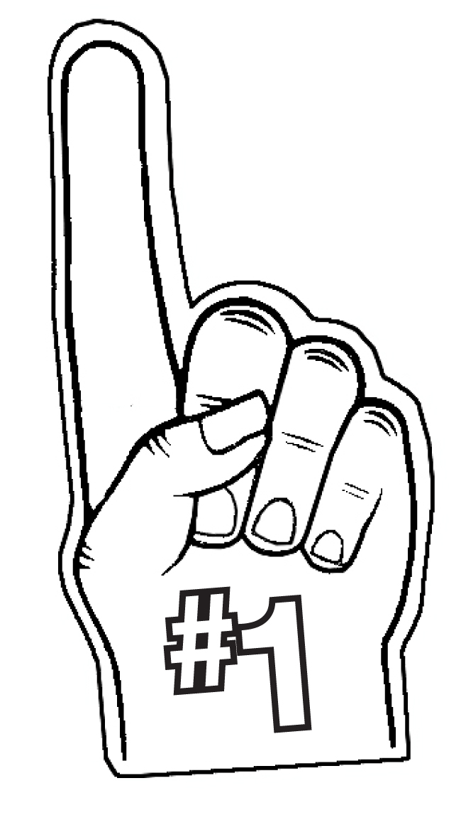 Black . 1 clipart foam finger