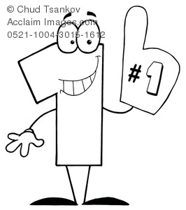 Image of black and. 1 clipart foam finger