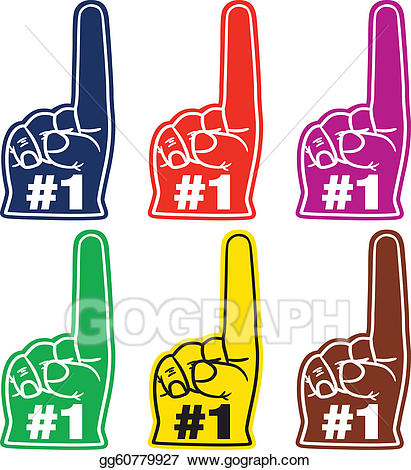 1 clipart foam finger. Vector illustration number one