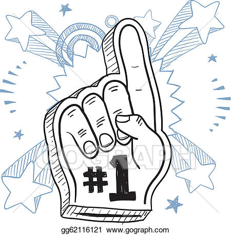Vector excitement sketch illustration. 1 clipart foam finger
