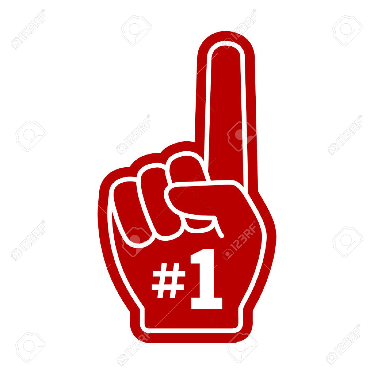 Red number cliparts free. 1 clipart foam finger