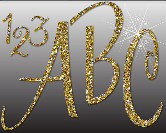 1 clipart gold glitter. Alphabet digital letters numbers