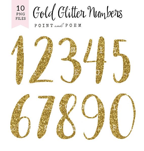 Numbers clip art letters. 1 clipart gold glitter