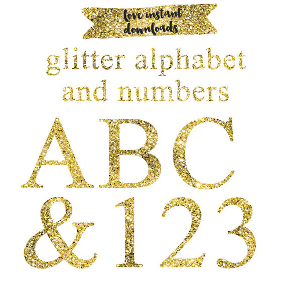 1 clipart gold glitter. Number pencil and in