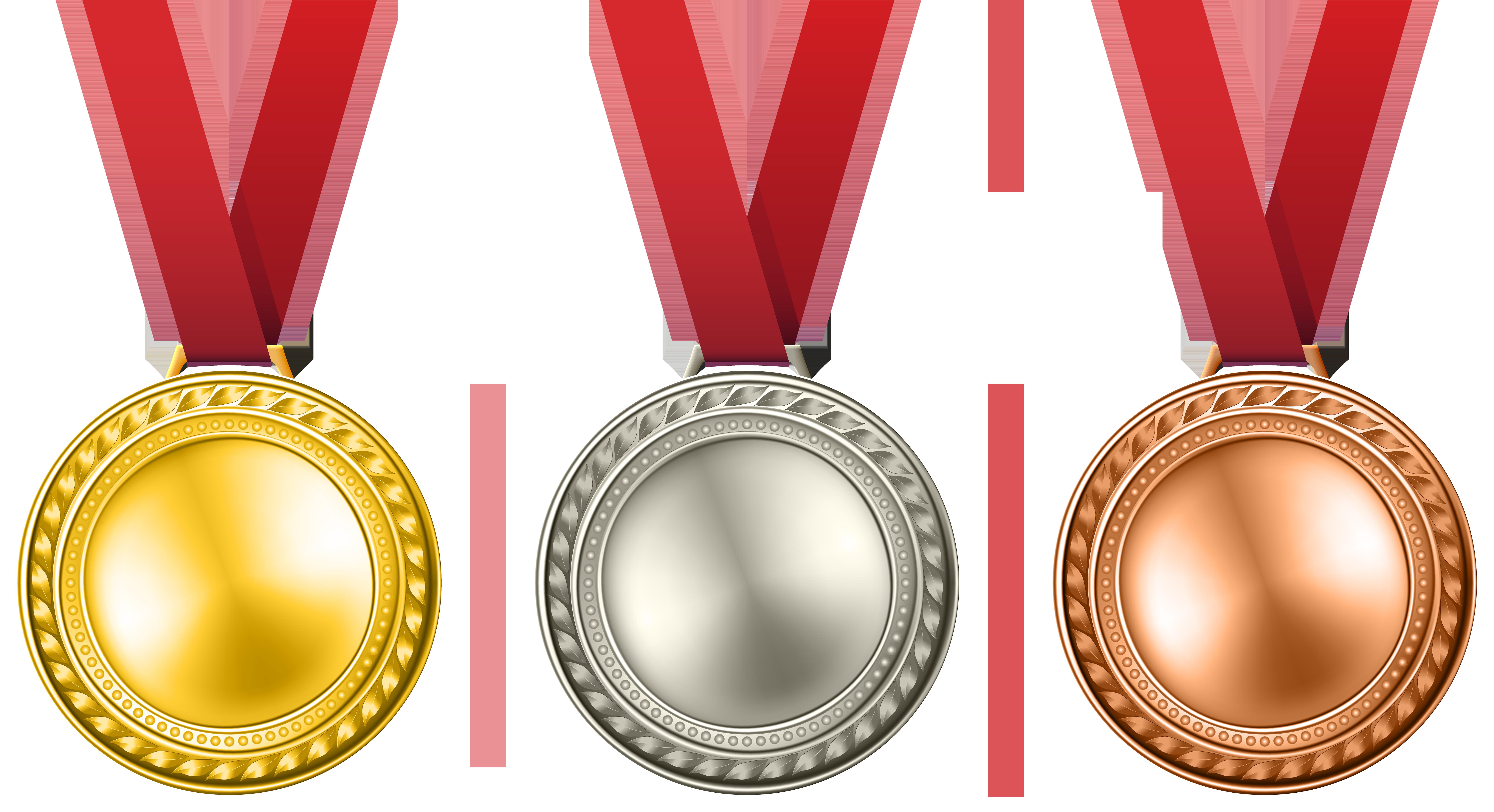 Awards clipart transparent background. Medals set png clip