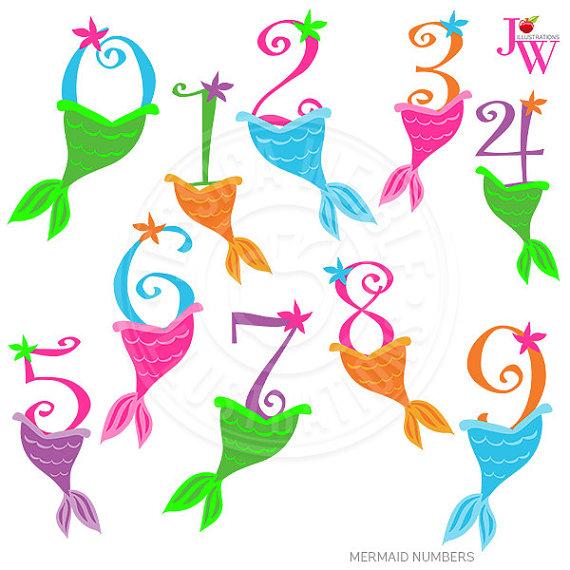 Numbers cute digital with. 1 clipart mermaid