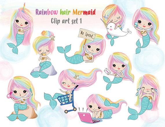 Rainbow hair clip art. 1 clipart mermaid
