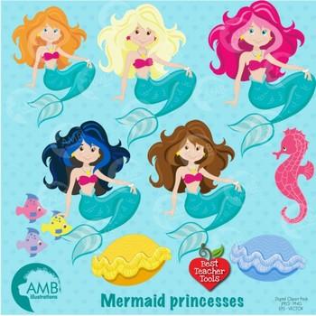 1 clipart mermaid. Pretty mermaids digital download