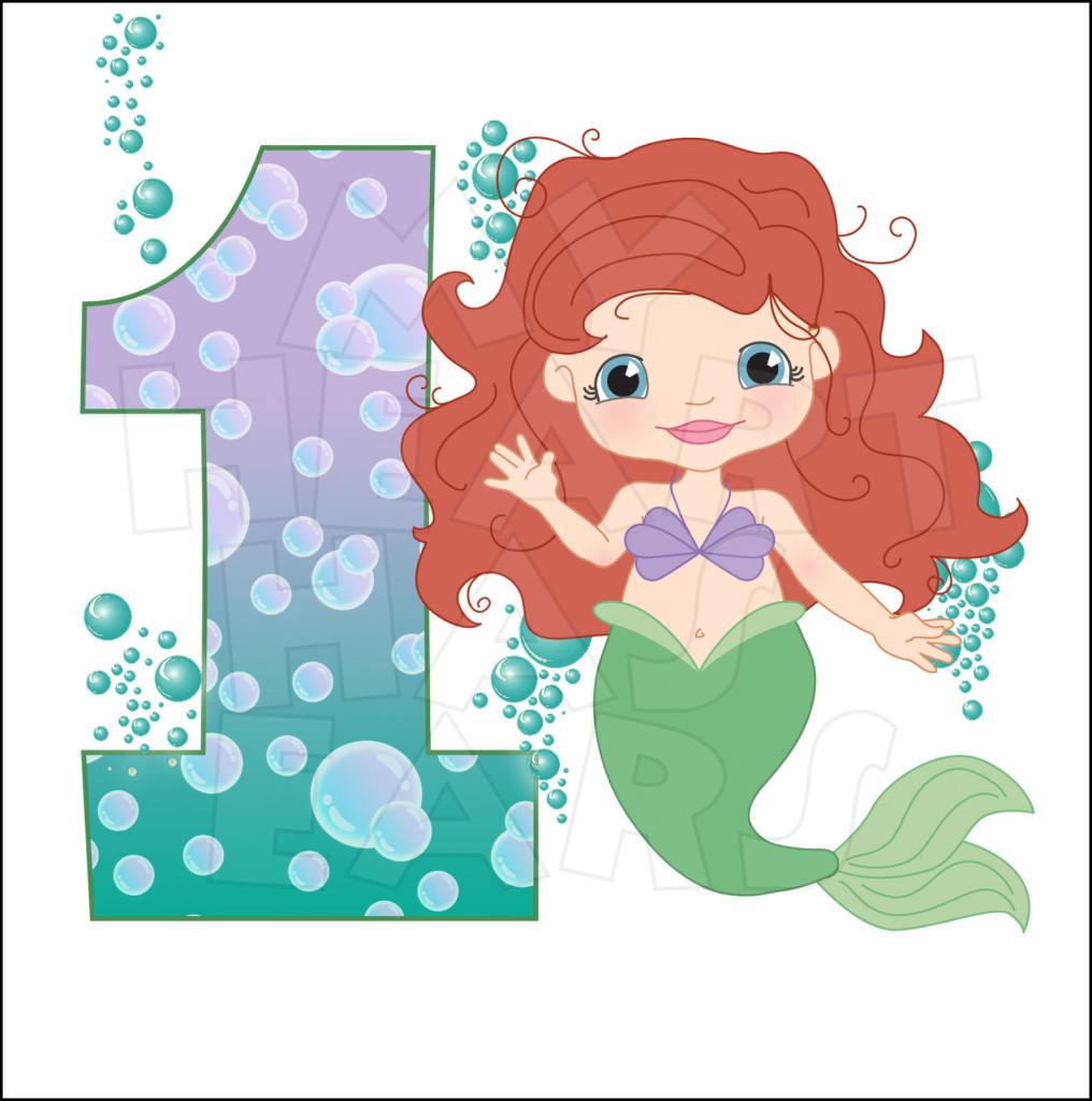 1 clipart mermaid. Little birthday kid clipartix
