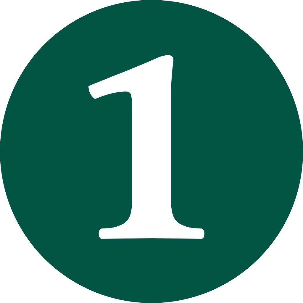 File green svg wikimedia. Number 1 clipart single number