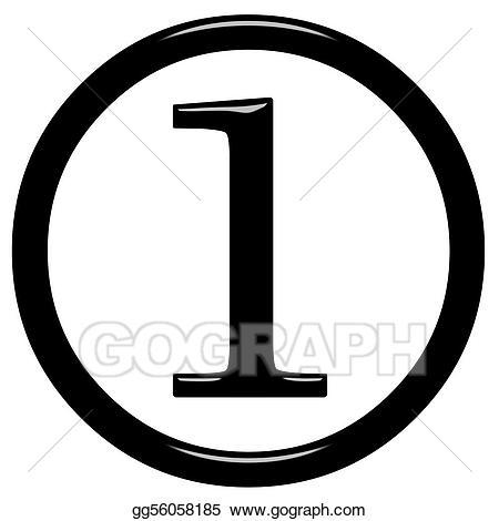 1 clipart numeral. Stock illustration d framed