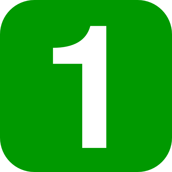 Number in green rounded. 1 clipart numeral