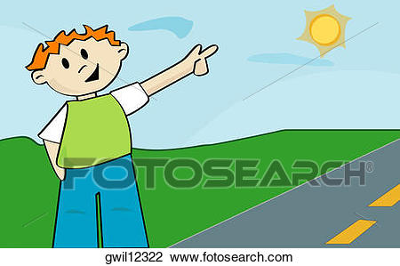 Girl pointing an station. 1 clipart object