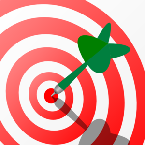 3 clipart object. Target with green dart