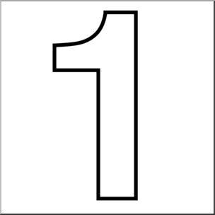 Clip art number set. 1 clipart outline