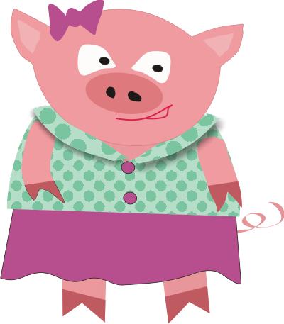 Girl . 1 clipart pig