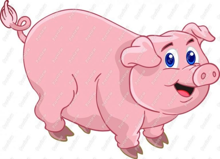 1 clipart pig. Cute animated clip art