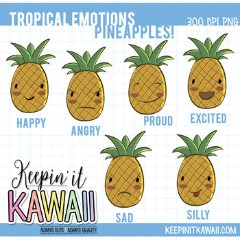 Angry clipart happy. Tropical emotions pineapple clip