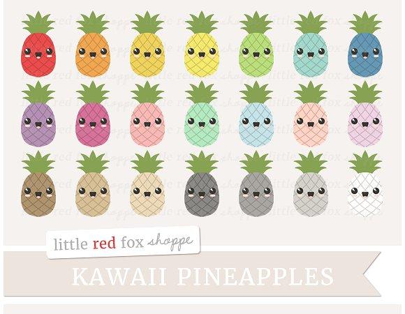 1 clipart pineapple. Kawaii illustrations creative market