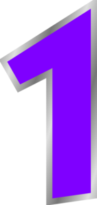 1 clipart purple. Number clip art at