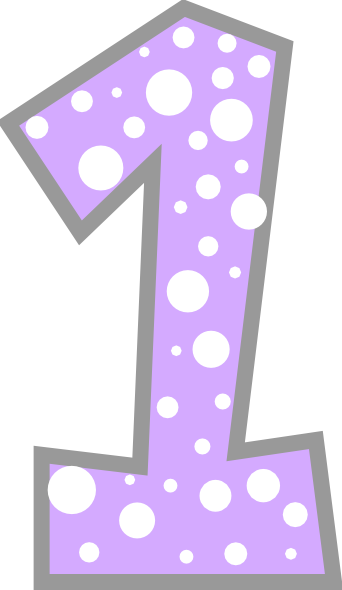 Number light and grey. 1 clipart purple
