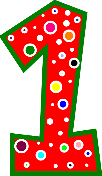 Number pink and green. 1 clipart red 1